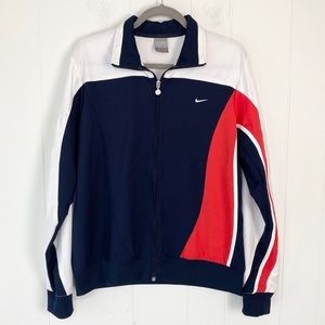 Nike Red White and Blue Striped Sleeve Zip Front Track Jacket Size XL 16/18